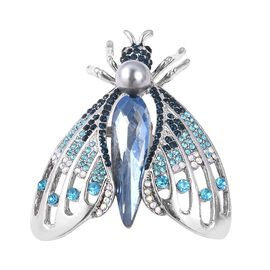 Simulated Blue Topaz, Multi Colour Austrain Crystal and Simulated Pearl Housefly Brooch in Silver Plated