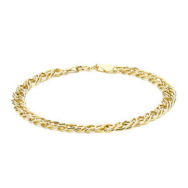 Diamond Cut Double Curb Chain Bracelet in 9K Yellow Gold 7 Inch