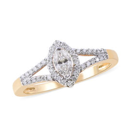 ILIANA 18K Yellow Gold IGI Certified Diamond (Mrq and Rnd) Ring 0.40 Ct.