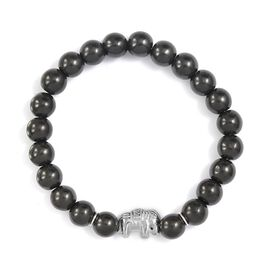 115.69 Ct Shungite Stretchable Elephant Beaded Bracelet in Rhodium Plated Silver 7.5 Inch