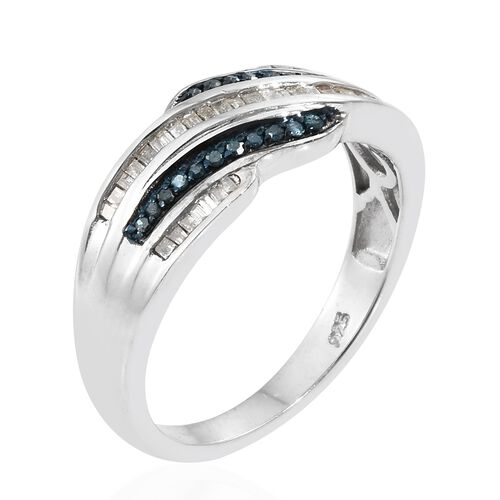 White Diamond (Bgt), Blue Diamond Ring in Platinum Overlay Sterling Silver 0.330 Ct.