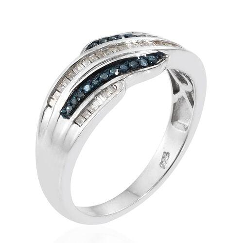 White Diamond (Bgt), Blue Diamond Ring in Platinum Overlay Sterling Silver 0.330 Ct.