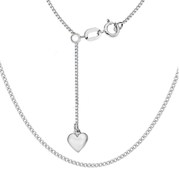 Sterling Silver Heart Slider Adjustable Curb Chain (Size 22)