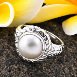 Royal Bali Collection White Mabe Pearl Solitaire Ring in Sterling Silver