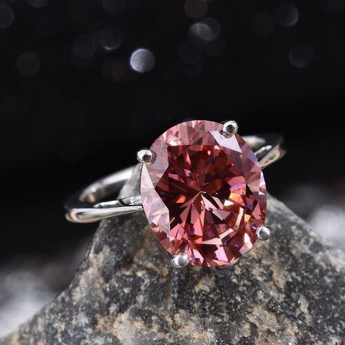 J Francis 9K White Gold (Ovl) Ring Made with Pink SWAROVSKI ZIRCONIA