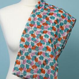 Sugar Crisp Chiffon Floral Printed Scarf (Size 150x50cm) - Teal & Orange