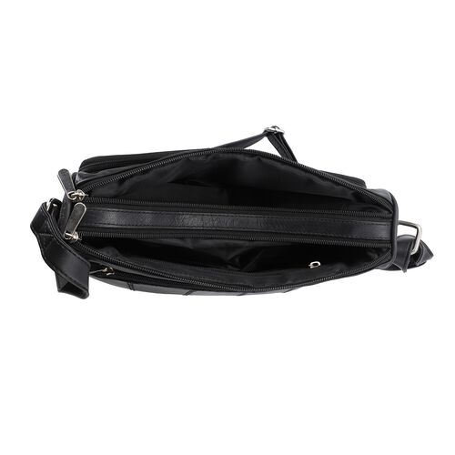 New Age - 100% Genuine Leather Crossbody Bag with Multiple Pockets (Size 31x24x8cm) - Black
