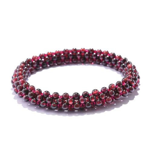 Rhodolite Garnet  Beads Stretchable Bracelet (Size 7.5) in Rhodium Plated 80.000 Ct.