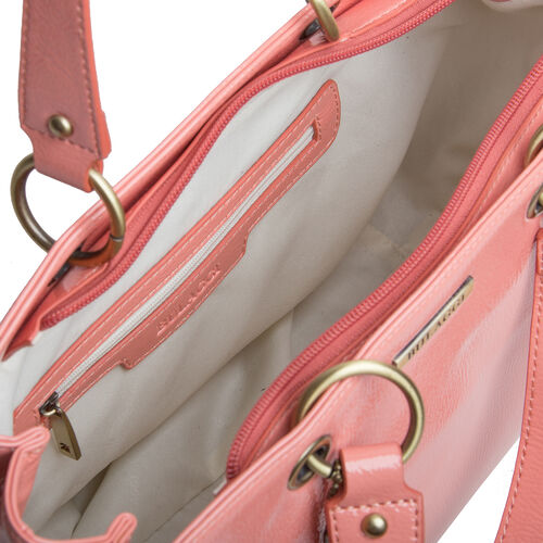 Bulaggi Collection - LILY Shopping Bag with Shoulder Strap and Zipper Closure (30x21x13cm) - Coral Colour