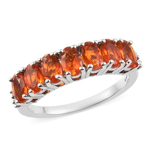 0.70 Ct Jalisco Fire Opal and Diamond Half Eternity Ring in Platinum Plated Sterling Silver