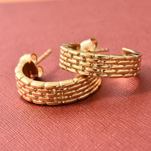 Designer Inspired - 14K Gold Overlay Sterling Silver J Hoop Earrings (with Push Back).Silver Wt 5.16 Gms