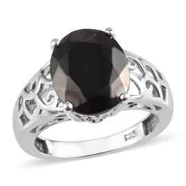 2.75 Ct Elite Shungite Solitaire Ring in Platinum Plated Sterling Silver