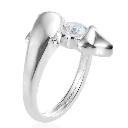 J Francis - Sterling Silver (Rnd) Fish Ring Made with SWAROVSKI ZIRCONIA, Silver wt 5.10 Gms