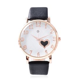 STRADA Japanese Movement Water Resistance Watch in Rose Tone - Black