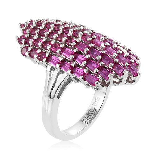 One Time Deal - Designer Inspired Lab Grown Ruby (Round & Taper Baguette) Cocktail Ring in Silver Plated.