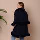 Solid Navy Kimono with Fuax Fur Trim (Size 125x79cm)