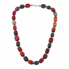 393.4 Ct Multi Agate and Hematite Beaded Necklace in Platinum Plated Sterling Silver 20 Inch