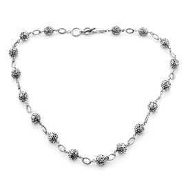 Bali Legacy Collection - Sterling Silver Floral Bead Station Link Adjustable Necklace (Size 20-20.5)