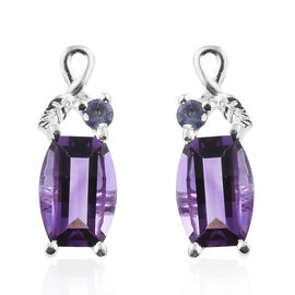 Amethyst (Barrel), Iolite Earrings (with Push Back) in Sterling Silver 1.500 Ct.