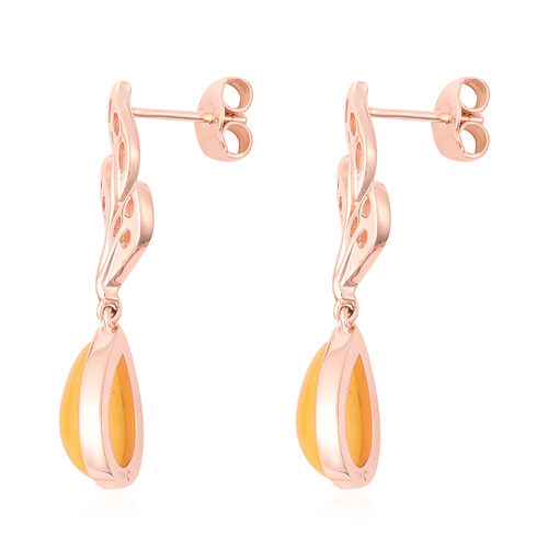 RACHEL GALLEY - Yellow Jade Drop Earrings (with Push Back) in Rose Gold Overlay Sterling Silver