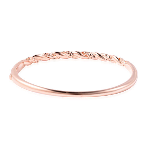 RACHEL GALLEY Rose Gold Overlay Sterling Silver Twisted Lattice Bangle (Size 7.5), Silver wt 23.02 Gms