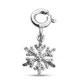 Blue and White Diamond Snowflake Charm in Platinum Plated Sterling Silver