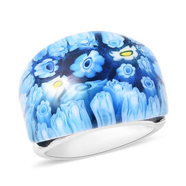 Blue Colour Murano Glass Dome Ring in Stainless Steel