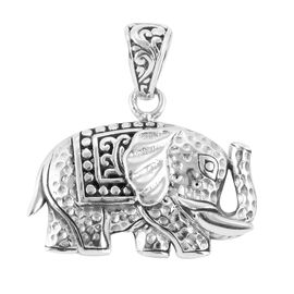 Royal Bali Collection- Sterling Silver Elephant Filigree Pendant, Silver wt 3.78 Gms.