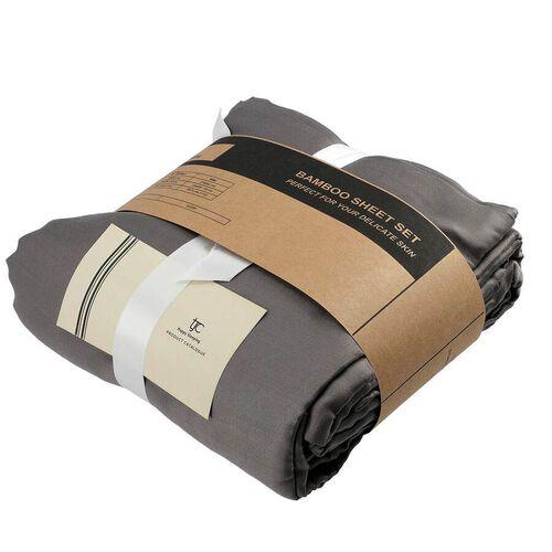4 Piece 100% Bamboo Bedding Set - incld. Flat Sheet (230x265cm), Fitted Sheet (140x190+30cm), 2 Pillow Cases (50x75cm) - Dark Grey - DOUBLE