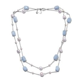 GP Espirito Santo Aquamarine (41.40 Ct.), Freshwater Pearl and Blue Sapphire Necklace (Size 18) in P