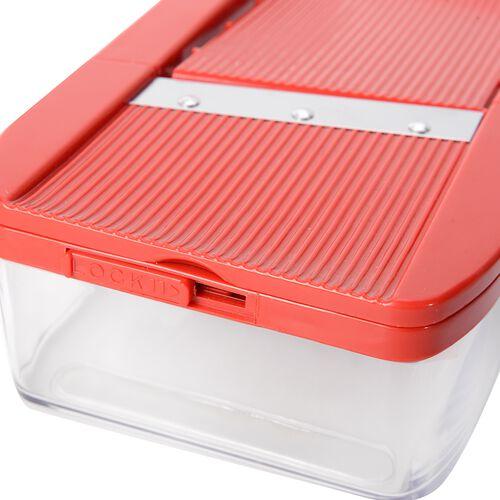 Set of 7 Red Colour Multi-Functional Adjustable Shredder including 1 Food Container,1 Butting Board,1 Vegetable Holder,1 Wavy Slicer,1x1.5 mm Shredder,1 x 2.5mm Shredder and 1 x 2.0 mm Slicer
