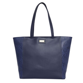 Assots London Animal Print Leather Tote Bag (Size 39x29x10.5cm) - Navy