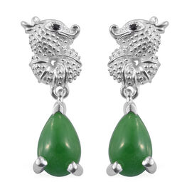 Green Jade (Pear), Boi Ploi Black Spinel Earrings (with Push Back) in Sterling Silver  3.000 Ct.