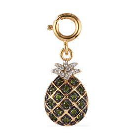 Sundays Child - AA Russian Diopside, Natural Cambodian Zircon Pineapple Charm in 14K Gold Overlay St