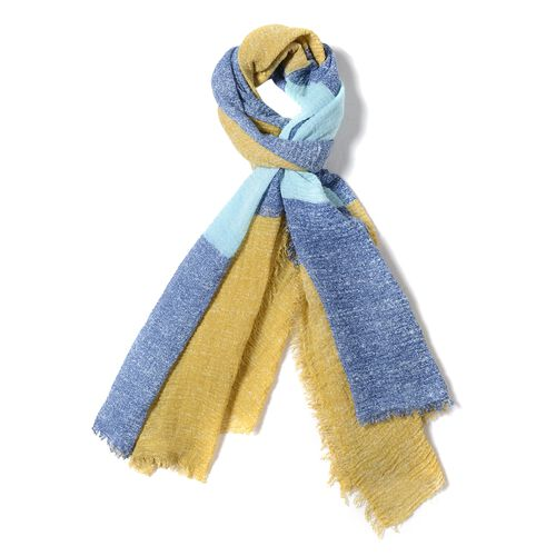 Mustard Yellow, Blue and Sky Blue Colour Chequer Pattern Scarf (Size 180x90 Cm)
