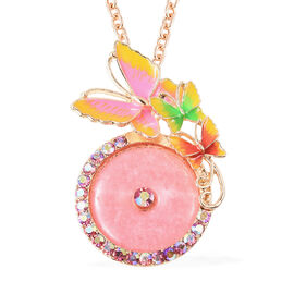 Pink Quartzite and Pink Magic Colour Crystal Enamelled Butterfly Pendant with Chain in Gold Tone