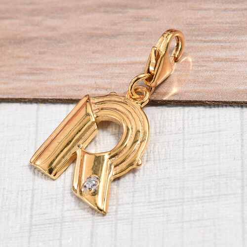 Diamond (Rnd) Initial R Charm in 14K Gold Overlay Sterling Silver