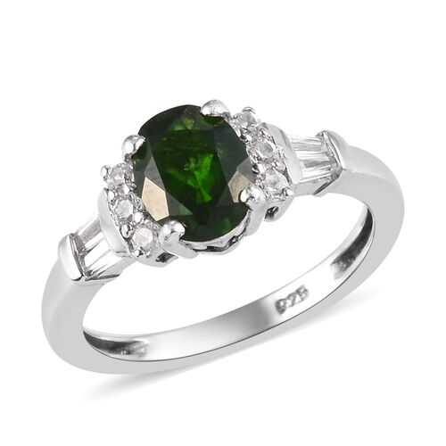 Russian Diopside and Natural Cambodian Zircon Ring in Platinum Overlay Sterling Silver 1.60 Ct.