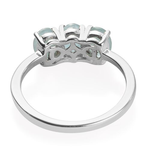 Grandidierite (Ovl 6x4 mm) Trilogy Ring in Platinum Overlay Sterling Silver 1.25 Ct.