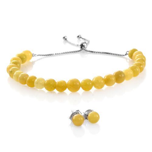 Super Auction- Rare Yellow Jade Ball Beads Bolo Bracelet (Size 6.5 to 8.5) and Stud Earrings (with Push Back) in Rhodium Plated Sterling Silver 39.600 Ct.