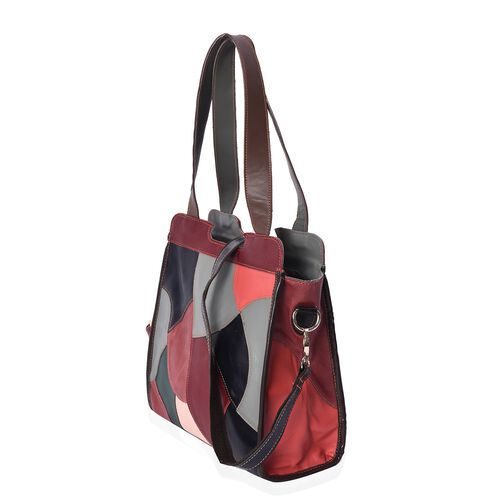 Designer Inspired -100% Genuine Leather Multicolour Blocking Pattern Tote Bag with Detachable Shoulder Strap and Zip Closure (Size 31x14x29 Cm)