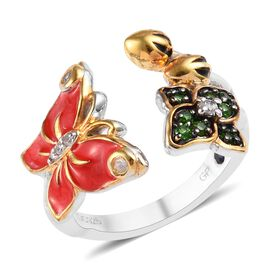 GP Russian Diopside and Multi Gemstone Enamelled Butterfly Ring in Platinum and gold Plated Silver