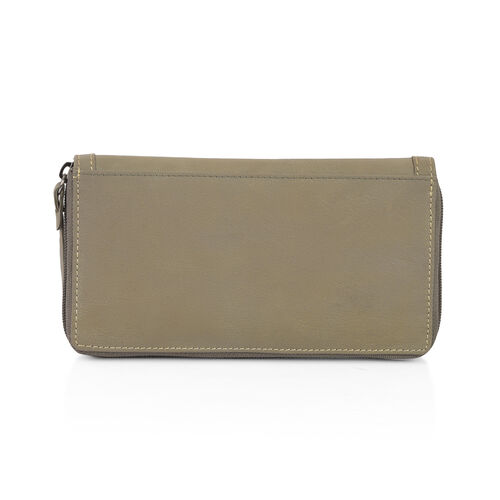 Design Look Horsebit Logo100% Genuine Leather Light Olive Clutch Wallet with RFID Blocking (Size 19x2.5x10 cm Large phone can fit in )