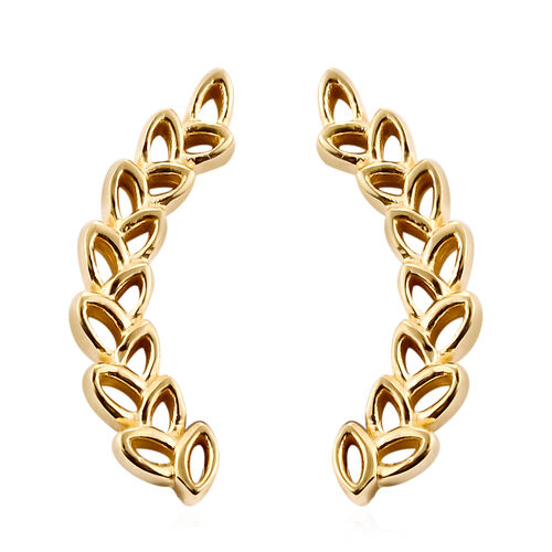 J Francis 14K Gold Overlay Sterling Silver Wheat-Inspired Climber Earrings (with Push Back) Made wit