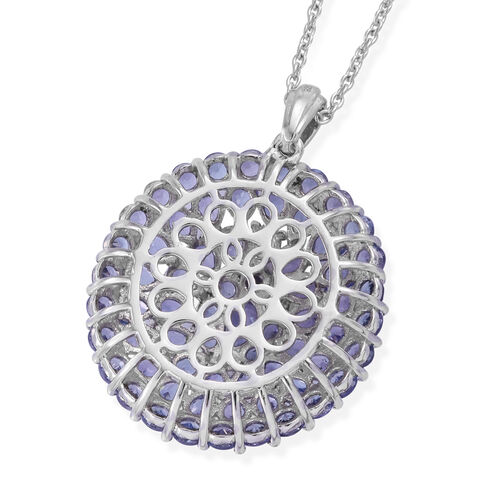 Signature Collection-Tanzanite (Ovl and Pear) Cocktail Pendant With Chain (Size 20) in Platinum Overlay Sterling Silver 9.00 Ct, Silver wt 9.41 Gms.