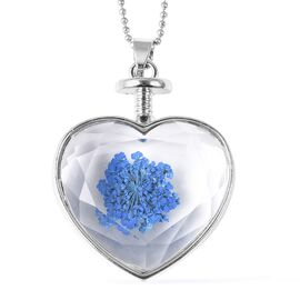 Real Dried Flowers Heart Glass Pendant - Blue