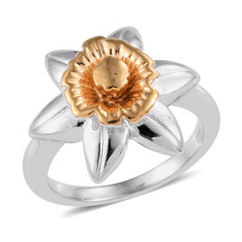 Platinum and Yellow Gold Overlay Sterling Silver Floral Ring, Silver wt 5.70 Gms