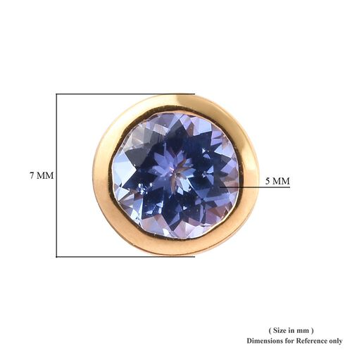 AA Tanzanite Stud Earrings (Rnd 5mm) (with Push Back) in Yellow Gold Overlay Sterling Silver 5mm  - 0.88 Ct.