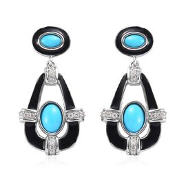 2.25 Ct Arizona Sleeping Beauty Turquoise and Zircon Dangle Earrings in Platinum Plated Silver