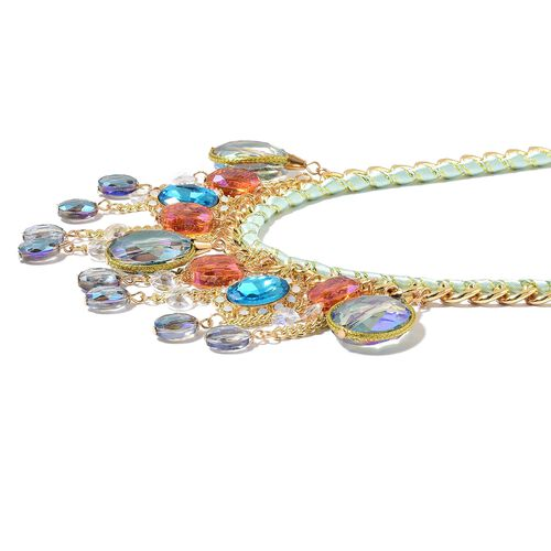 Simulated Multi Gemstone and White Austrian Crystal Necklace (Size 20 with 3 inch Extender) in Yellow Gold Tone